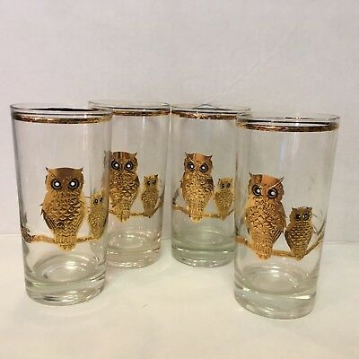 4 Vintage CULVER 22K GOLD Owl Tumblers Tall Drinking Glasses MCM Mid Century