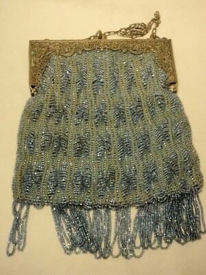 Vintage Blue Art Deco Beaded Purse Bag w/ Metal Floral Frame *As-Is*