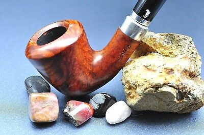 Bjarne VIKING Briar Tobacco Pipe Half Bent Dublin Shape Light to Mid-Brown Grain