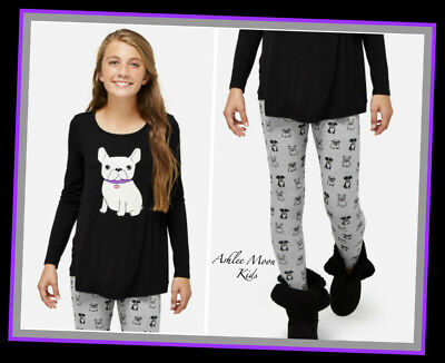 NWT JUSTICE Girls 8 10 12 Black Long Sleeve Swingy Dog Tee & Printed Legging Set