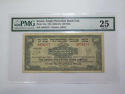 Israel Anglo Palestine Bank 1948-51 500 Mils (P#14A) Pmg Banknote Collection Lot
