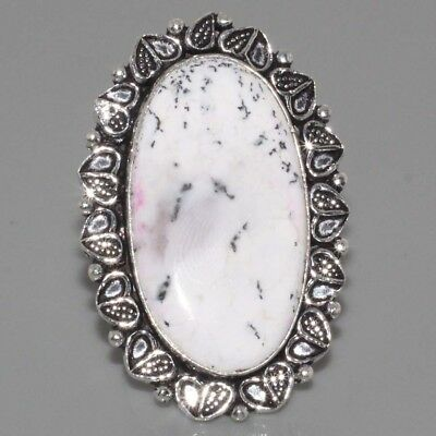 J3585 ANTIQUE STYLE HUGE Dendritic Opal & 925 Silver Overlay Ring US 7 Jewelry