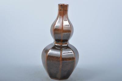K839: Japanese Seto-ware Brown glaze Gourd-shaped FLOWER VASE Ikebana, auto