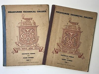Vintage MELBOURNE TECHNICAL COLLAGE Electrical Science Radio Course Books 1940s