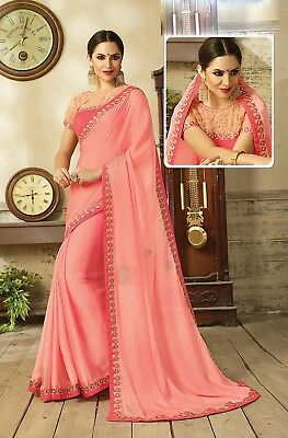 Indian Designer Peach Embroidered Bollywood Sari Satin Silk Party Wear Saree