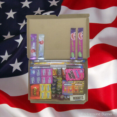 American Sweets Gift Box - 50 Items - USA Candy Hamper - Wonka Nerds - Present