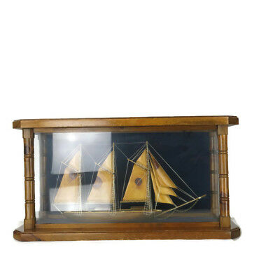 Vintage Wood Ship Boat Model In Glass Wood Cabinet Case Nautical Home Decor