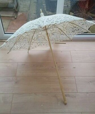 Lace Wedding Parasol in Antique Ivory with  long Handle