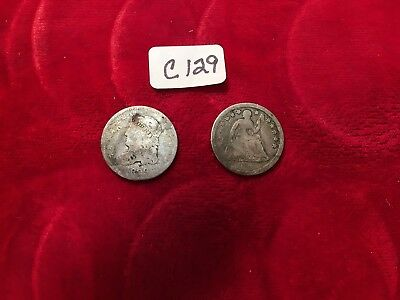 2pcs Half Dimes WELL USED 1829 Bust & 1856 Seated TWO COINS  C129