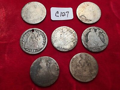 Seven 1876? Seated Liberty Dimes worn out or holed various dates  C127