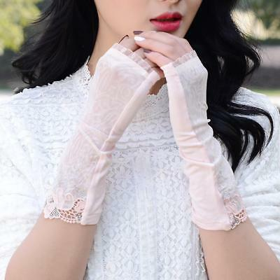 Fingerless Summer Women Gloves Uv Protection Ice Silk Lace Driving Party Mittens