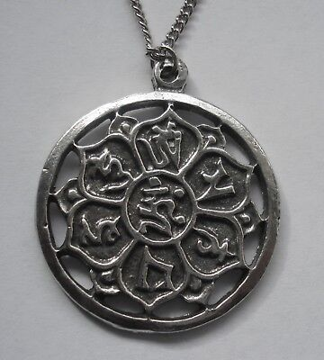 Chain Necklace #1350 Pewter SUN MEDALLION FLOWER CIRCLE (40mm x 34mm)