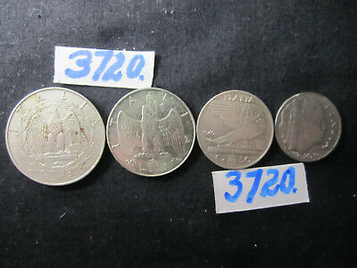 4  x COINS cents/ lira  1940  Mar3720  from  ITALY  48gms