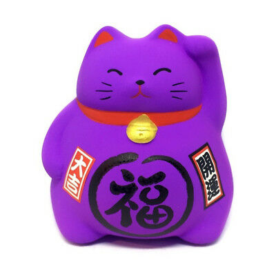 Tirelire chat japonais violet en ceramique Made in Japan Maneki Neko Top 82 BO5