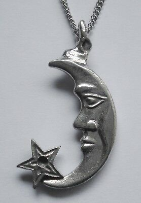 Chain Necklace #1266 Pewter MOON & STAR PENDANT (43mm x 25mm) Celestial