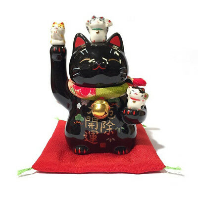 Famille chat japonais noir 11cm porcelaine Made in Japan Maneki Neko 40577