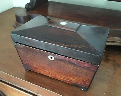 Charming Antique Victorian Rosewood Tea Caddy- Sarcophagus with MOP Detail