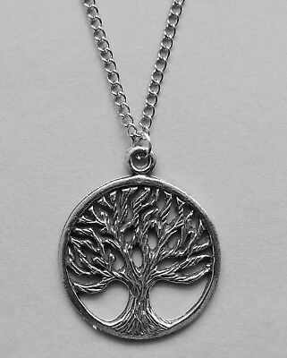 Chain Necklace #382 Pewter TREE OF LIFE 25mm Metaphysical Spiritual