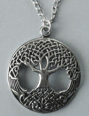 Chain Necklace #377 Pewter TREE OF LIFE (28mm) Wicca Spiritual Reiki Pagan