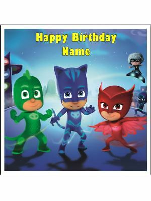 "Pj Mask 7"" 18Cm Square Edible Icing Image Cake Topper #1"