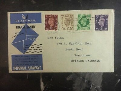 1939 England First Flight Cover to Vancouver  Imperial Airway FFC Transatlantic