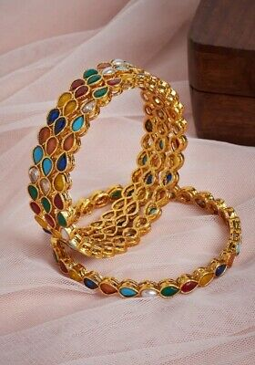Royal Bollywood Indian Costume Jewellery Bridal Pearl Bangles Bracelet all sizes