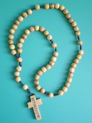 Catholic Gifts Brown Bethlehem Olive Wood Wooden Cord Rosary Beads + Rosary Card