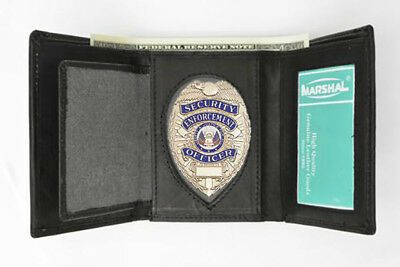 Badge Holder Wallet Leather ID Credit Card Oval Fire Police Sheriff Officer