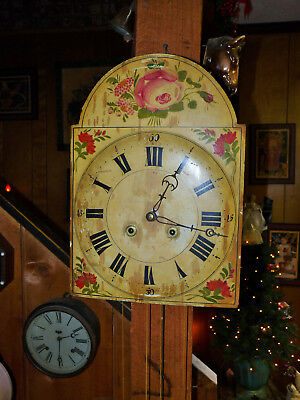 Eight Day Early Pennsylvania Wag On Wall With Original Painted Dial