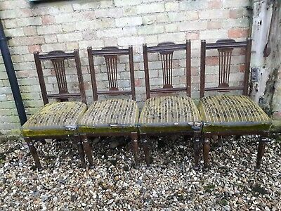 Set 4 Edwardian / late Victorian sprung dining chairs in need of new upholstery.