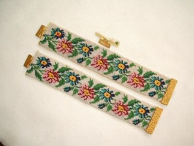 Very Rare Pair  Early 19th Century Victorian Beadwork & Pinchbeck Cuff Bracelets