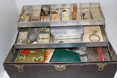Vintage Kennedy Tackle Box with contents Hand Tied Flies Fly Box with other junk