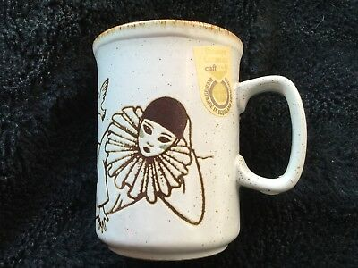 Very Rare 1970s Dunoon Mug With Original Sticker Pierrot With Dove And Rainbow