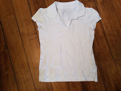 Girls Uniform white short sleeve shirt By Cherokee Size Large EUC