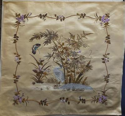 ANTIQUE QING CHINESE SILK EMBROIDERY 62cm x 57cm HERON & BUTTERFLY 1 OF A PAIR