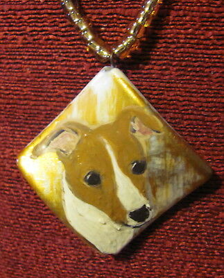 Italian Greyhound hand painted on wavy, square composite pendant/bead/necklace