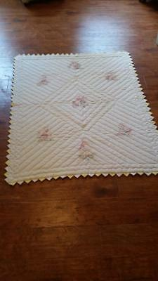 Beautiful Handmade baby quilt Hand embroidered