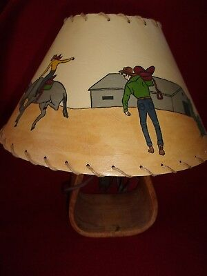 Cowboy Hand Painted Lamp Shade, base made from stirrup