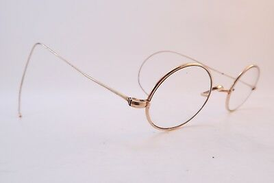 Vintage 20s gold filled oval eyeglasses frames coil arms 1/10-10ct saddle bridge