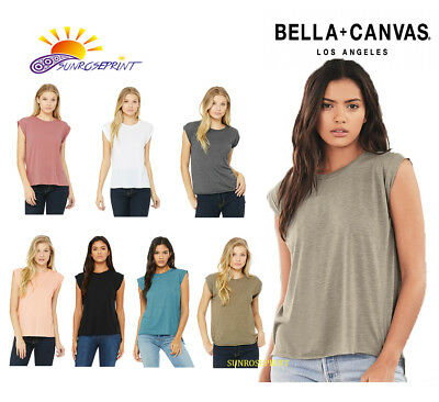 08d6be130e NEW Bella + Canvas - Women's Flowy Muscle Tee with Rolled Cuffs - 8804