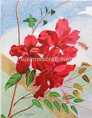 $30.00 OFF - Nature Red Hibiscus ORIGINAL Flower  Pointillism  8.5x11 by LVZimm