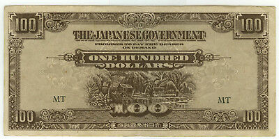 Invasion Occupation Note British Ruled Colony Malaya 100$ (Dollar) 1944 T1 WWII