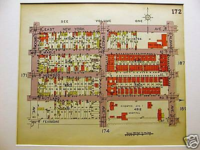 Brooklyn Map 1929 FLATBUSH FENIMORE ST. ALBANY KINGSTON Matted