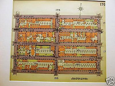 Brooklyn Map 1929 BUSHWICK PULASKI THROOP LEWIS Matted