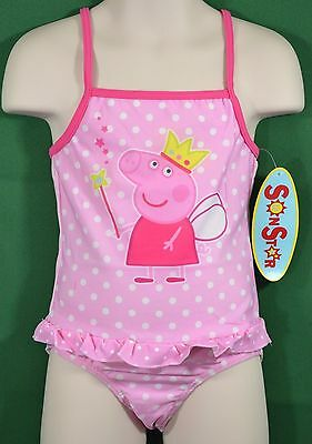 NWT Pink Peppa Pig Ruffle Bathing Suit Swimsuit Girls Fairy Polka Dots Size 3/4