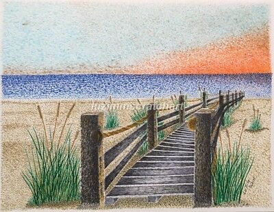 $30.00 OFF - Nature Clearwater Beach FL Sunset ORIG Pointillism 8.5x11 by LVZ