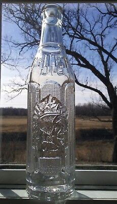 "VINTAGE EMBOSSED BIG CHIEF OTTAWA, Kansas Bottle 9"" Patented 1925 before ACL"