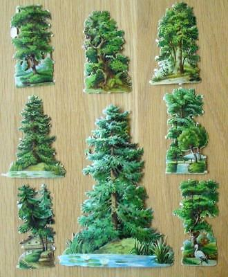 8 Victorian Chromo Die Cut Relief Scraps of Trees including a Gigantic scrap