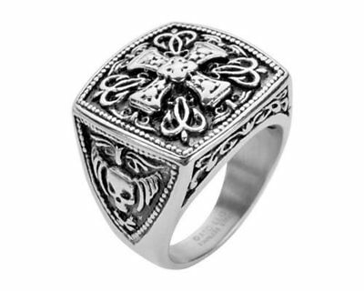 Cross Christian Stainless Steel Solid Inside Ring HEAVY METAL JEWELRY USA