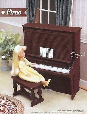 Piano & Bench ~ fits Barbie dolls, Annie's plastic canvas pattern leaflet